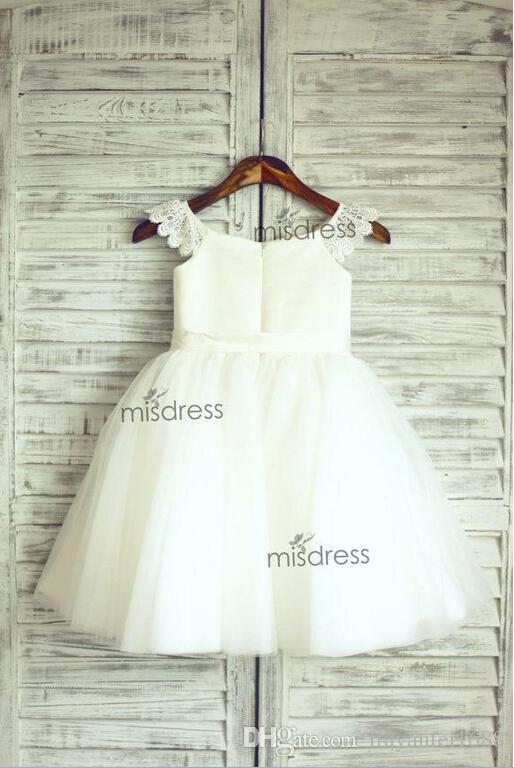 Lace Tulle Cap Sleeves TUTU Flower Girl Dress Wedding Easter Junior Bridesmaid Baptism Baby Infant Children Toddler Kids Dress