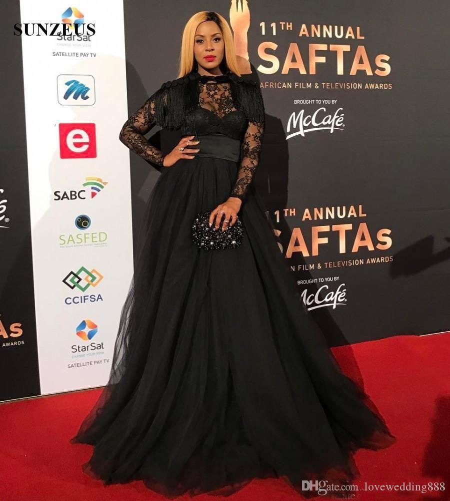 2017 Sexy negro una línea más el tamaño de la noche vestidos formales de encaje puro de manga larga imperio de la cintura de Tulle vestido de la celebridad