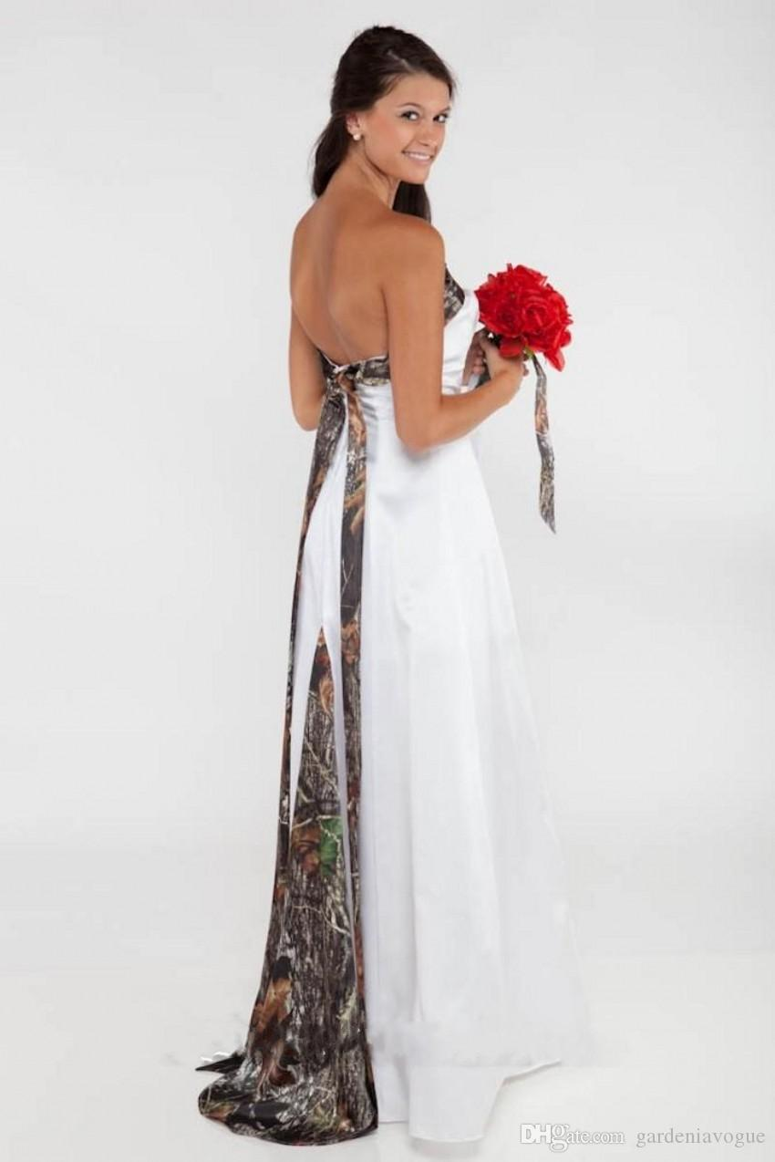 Discount 2015 Backless Camo Wedding Dresses With Insert Tie Back ...