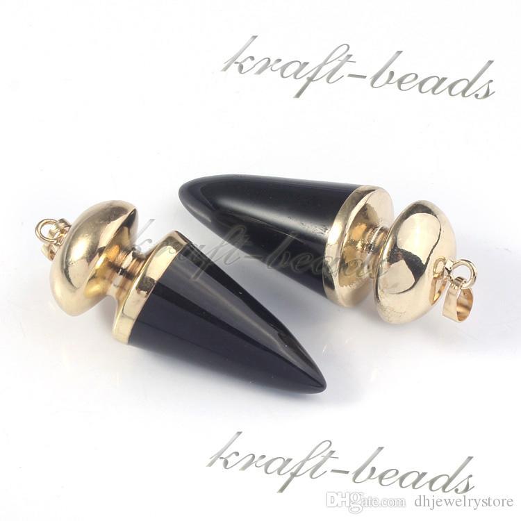 Природные позолоченные черный агат конической формы рейки камень кулон Шарм ювелирные изделия Fit ожерелье