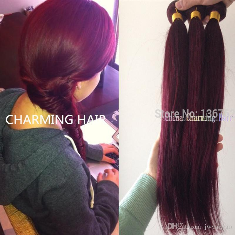 Amazing Cheap 99J Burgundy Hair Extension Remy Burgundy Malaysian Hairstyles For Women Draintrainus
