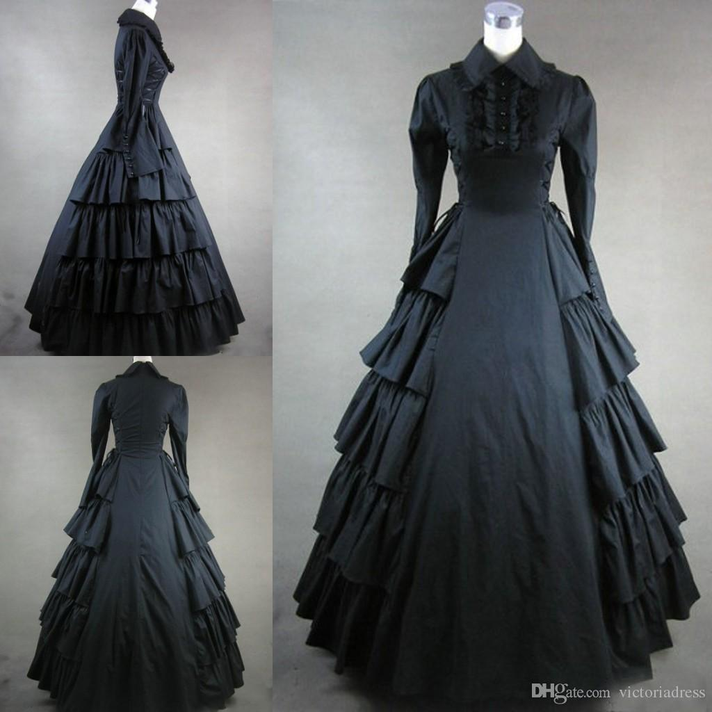 Long Sleeves Black Gothic Victorian Style Gown Dress Cosplay Custom ...
