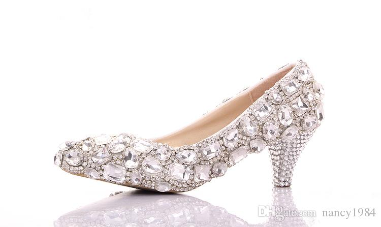 Spring Luxurious Rhinestone Wedding Shoes Both Side Big Crystal Bridesmaid Shoes Graduation Party Prom Shoes Lady Formal Middle Heel Shoes