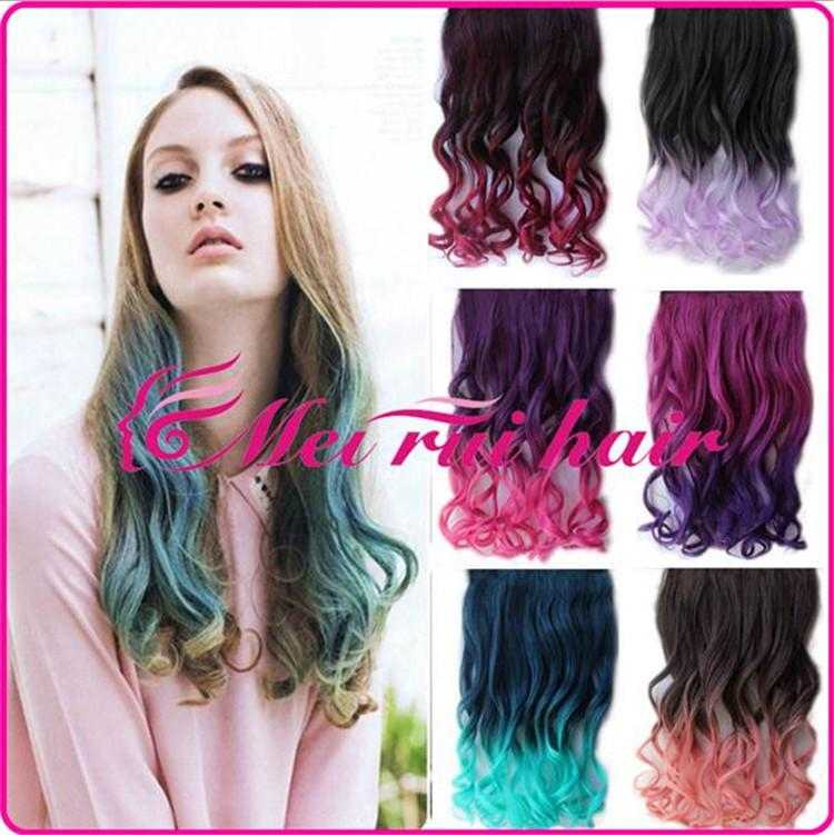 2018 Body Wave Hair Rainbow Colors Ombre Color Synthetic Hair ...