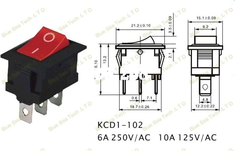 3 Pin Luminated Rocker Switch Red Green Button On Off 10a 125vac 6a