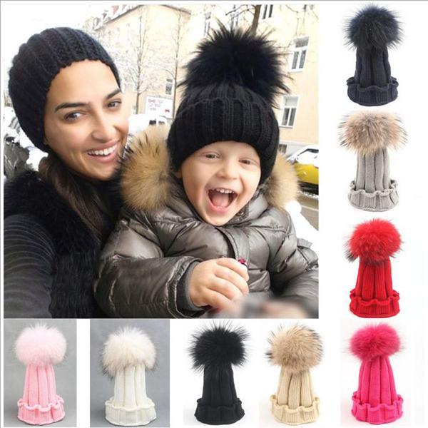 Kids Crochet Hats Baby Winter Caps Children Raccoon Fur Pom Poms Hat  Fashion Girl Boy Beanie Infant Wool Bonnet With Boutique Ball Wholesale  Canada 2019 ... 2a64116b640