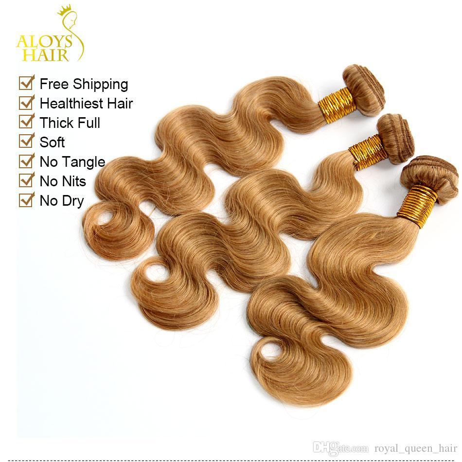 Мед Блондинка 27# Бразильский Девственные Человеческие Волосы Плетение Пучки Перуанский Малайзийский Индийский Евразийский Русский Объемная Волна Наращивание Волос Двойные Утки