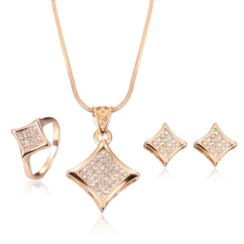 Rose Gold Plated CZ Filled Necklace Earrings Rings Jewelry Sets 2016