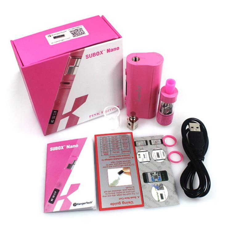 Authentic Kanger Subox Nano Starter Kit with 3ML Subtank Nano vape Atomizer 50W Kbox nano black white pink purple in stock