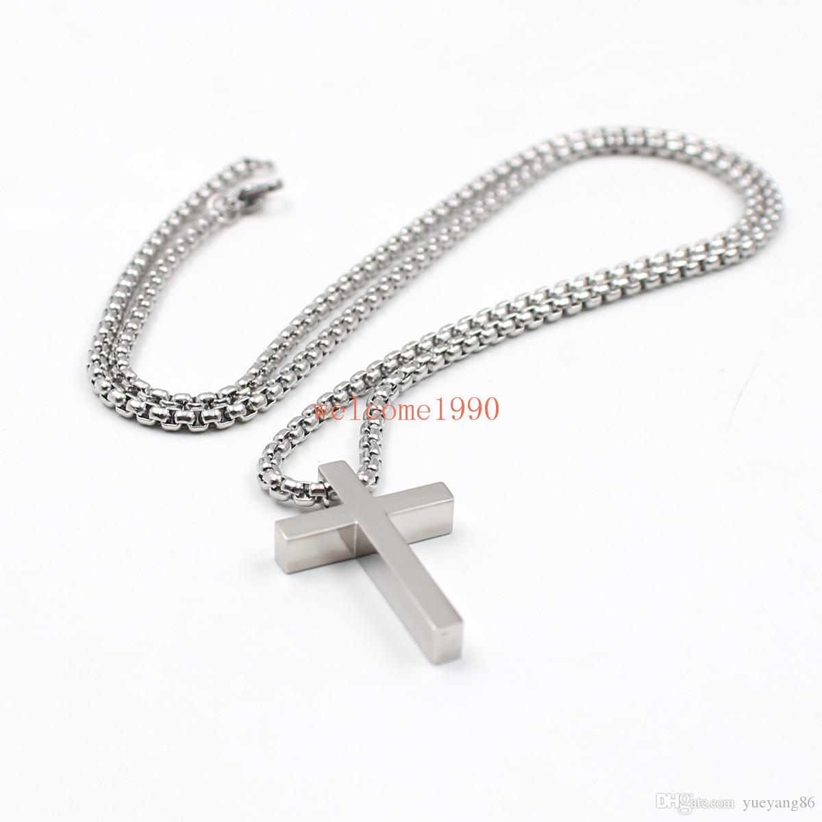 jewelry silver color Stainless Steel Polished huge cross pendant necklace 24 inch 3mm Rolo box chain for women mens XMAS Gifts