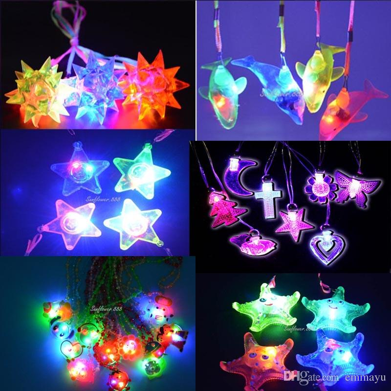 Costumes & Accessories Kids Children Light Up Jelly Star Heart Led Flashing Necklace Pendants Gift Rave Party Wedding Cosplay Props Halloween Costume Props