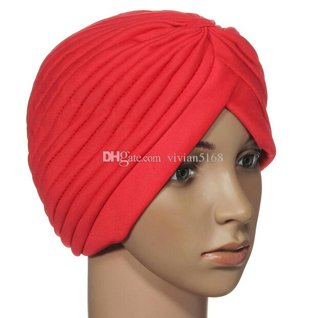 Top Quality Stretchy Turban Head Wrap Band Sleep Hat Chemo Bandana Hijab Pleated Indian Cap Yoga turban hat Free DHL