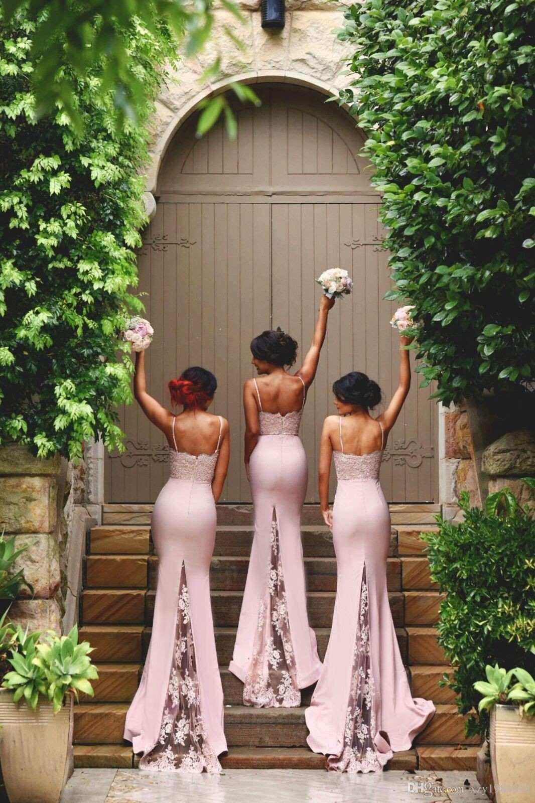 Cintas de espaguete rendas de cetim da dama de honra vestidos de trem de renda apliques blush rosa sereia baratos vestidos de baile Bodycon vestidos de noite