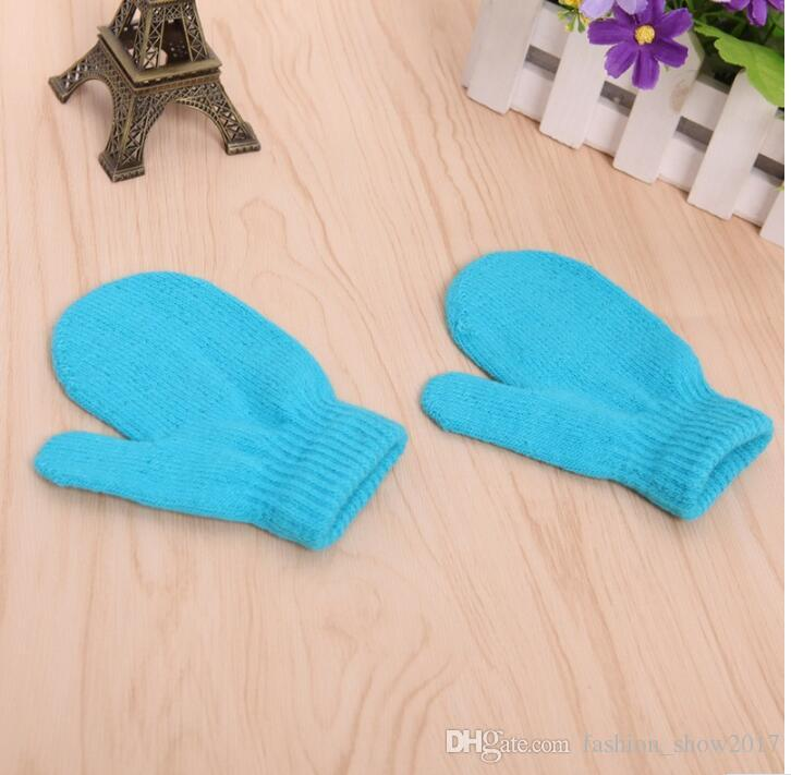 Candy Color Baby Girls Boys Winter Warm Glovers Toddlers Cartoon Baby Kids Warm Kinting Gloves Mittens