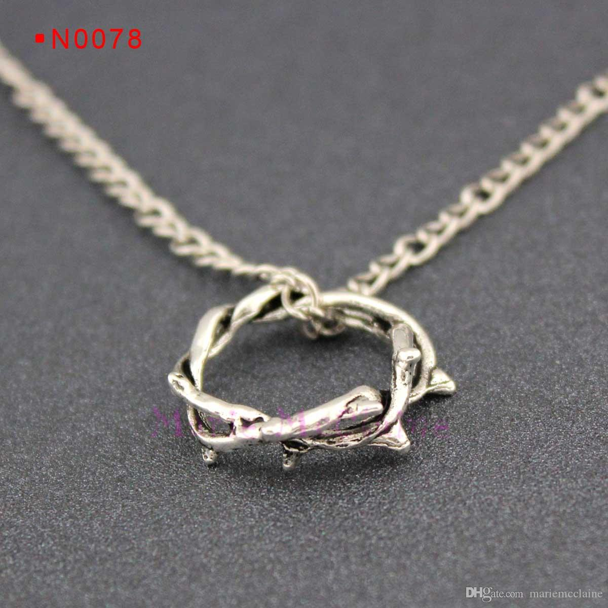 Wholesale crown of thorns charm necklaces thorn ring pendants wholesale crown of thorns charm necklaces thorn ring pendants necklaces twig ring branch ring alloy chain child girls gift women men jewelry single diamond aloadofball Images