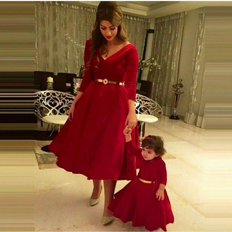 2015 Gorgeous Red Mother And Daughter Dresses For Special Occasion Long  Sleeve v Neck Ball Gown f6b9b6f4b9