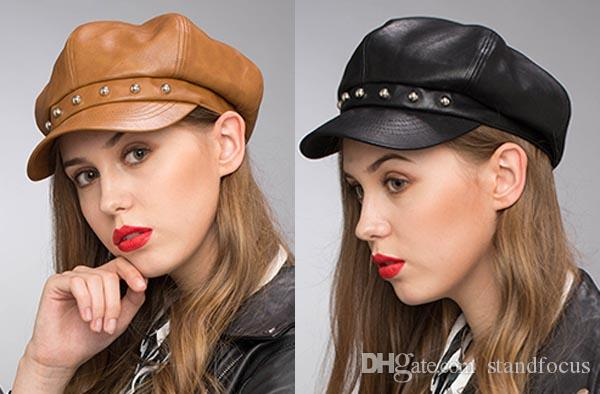 133d8dccedec8 2019 Stand Focus Women Faux Leather Studs Cabby Baker Boy Gatsby Hat  Newsboy Cap Ladies Fashion Fall Winter Black Brown Stylish Cool From  Standfocus