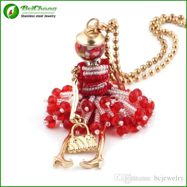 French Doll Necklace Pendant Fashion Necklaces For women 2015 New Acrylic Alloy Cute Girl Dress Trendy Accessories BC-0028