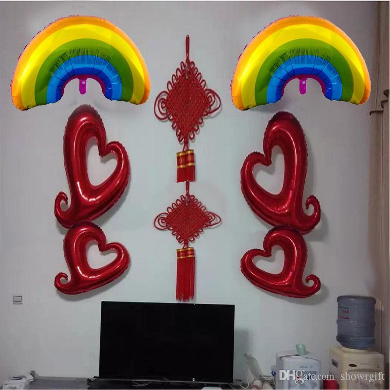 Nueva Rainbow foil globos Fiesta de cumpleaños suministros Decoración de la boda Helio inflable Fiesta de cumpleaños de la fiesta de bienvenida al bebé favores 93 * 59 cm /