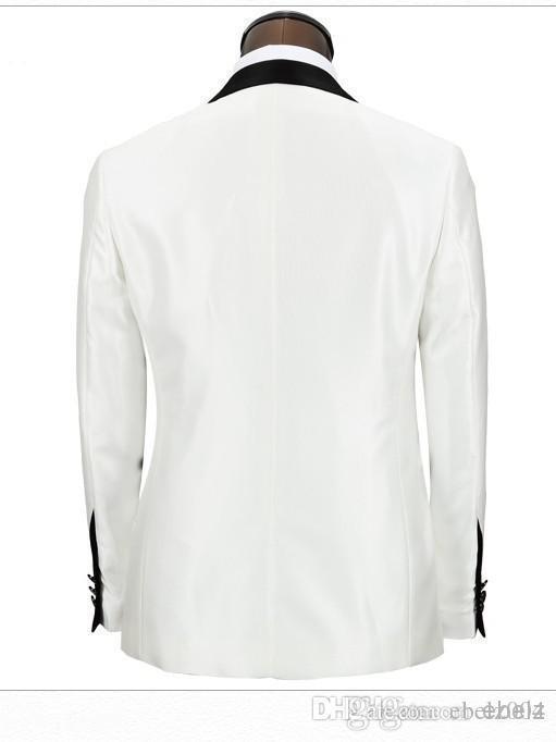 2016 WHITE TUXEDO JACKET BLACK PANTS Black Shawl Laple Groom Wedding Suits For Men Tailored White