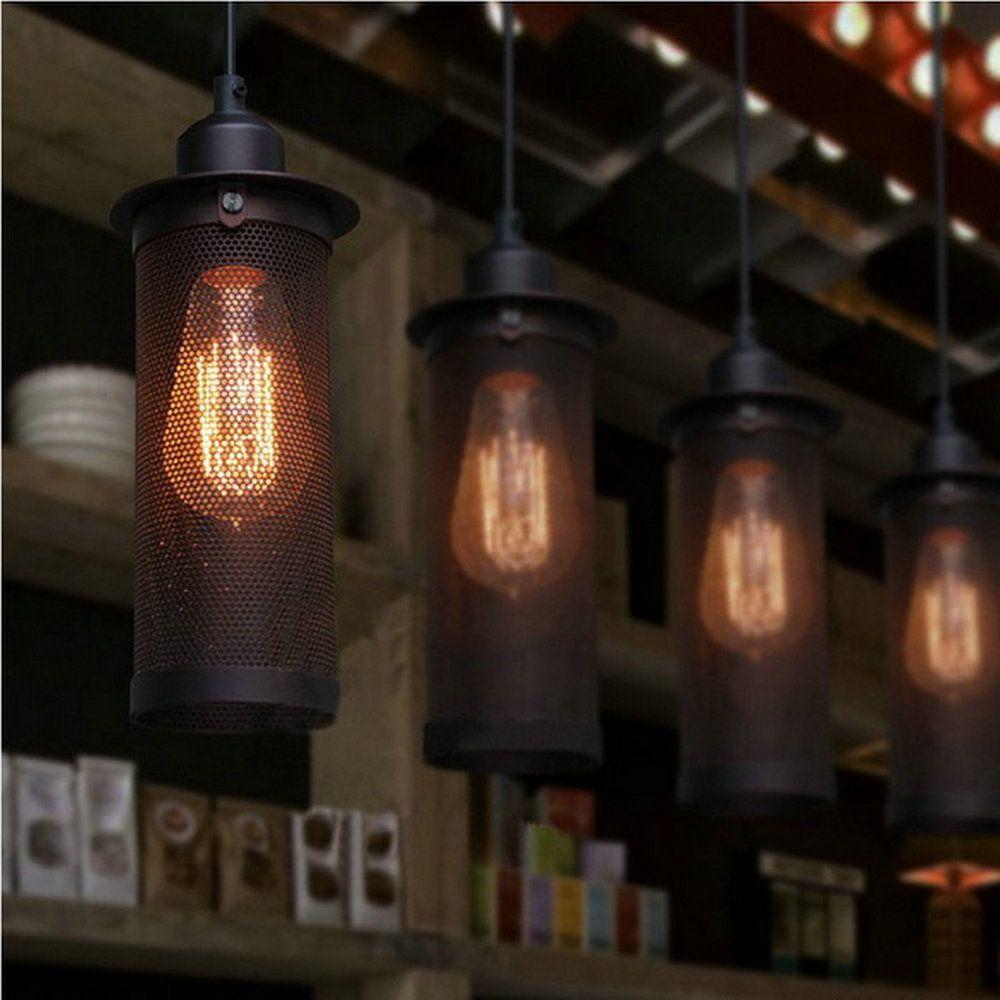 Lámparas colgantes retro Luces industriales American Country lámpara nostálgica Lámpara de techo de hierro hueco downlights Black E27 lighting