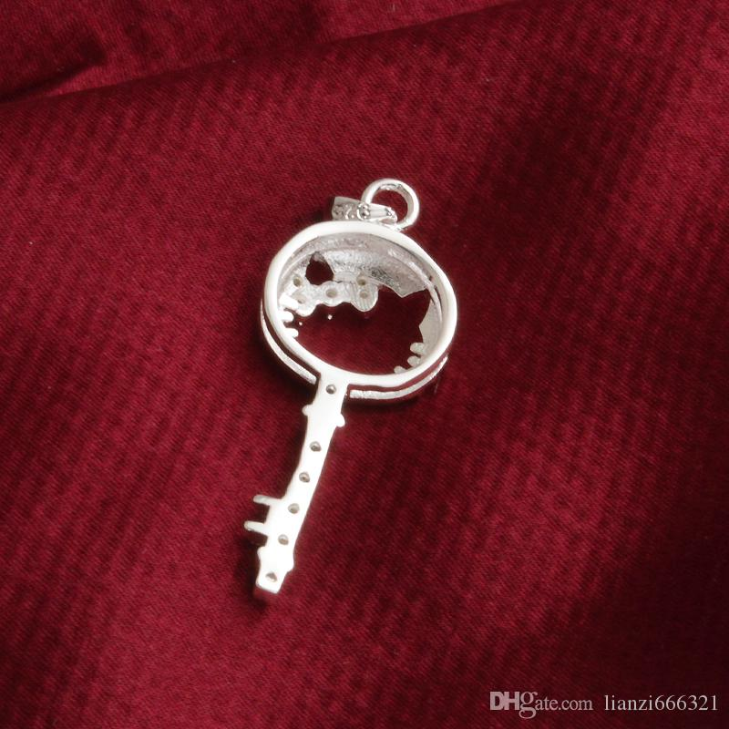 Livraison gratuite mode haute qualité 925 silverl chat Key Purple diamond bijoux Collier en argent 925 Valentine 's Day vacances cadeaux Hot 1699