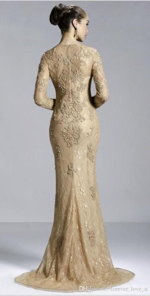 Gold Sexy Langarm Juwel Abendkleid Reißverschluss Sweep Zug Abendkleider Mit Applikationen Arabisch Kleid Spitze