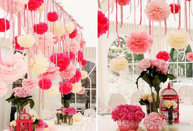 Quente! papel de seda pom poms flores de papel bola para decorações de casamento festa de aniversário de natal 6/8/10/12/14 polegadas multi-cores