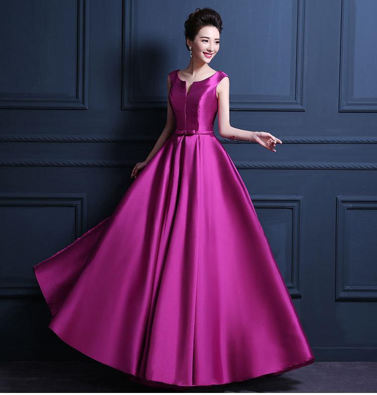Compre 2016 Púrpura Nuevo Lujo Satinado Vestido De Noche Largo ...