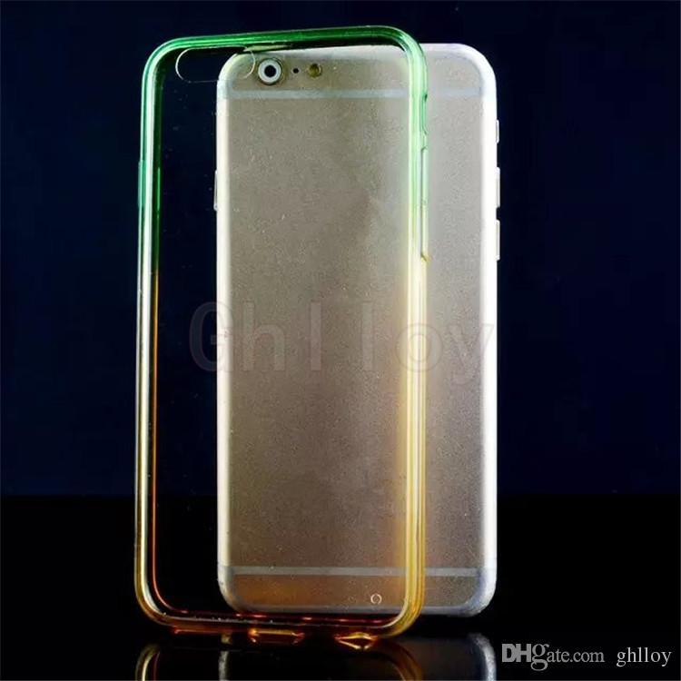 Vente chaude Transparent Peau De Protection De Téléphone Cas Dégradé Acrylique Clair Couverture Arrière Pour iphone5 6 6plus vers le haut