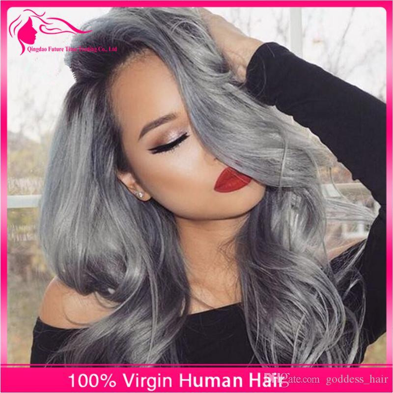 Nueva llegada # 1B / gris de cierre de encaje con paquetes de onda del cuerpo de plata gris pelo tejido Gery Ombre pelo con cierre libre / medio / tres partes