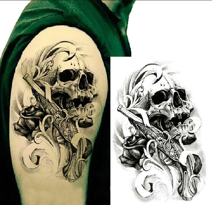 Single gun skull tattoo 3d waterproof temporary tattoo stickers body art tattoo fake arm tatuajes tatuagem temporaria temporary tattoo marker temporary