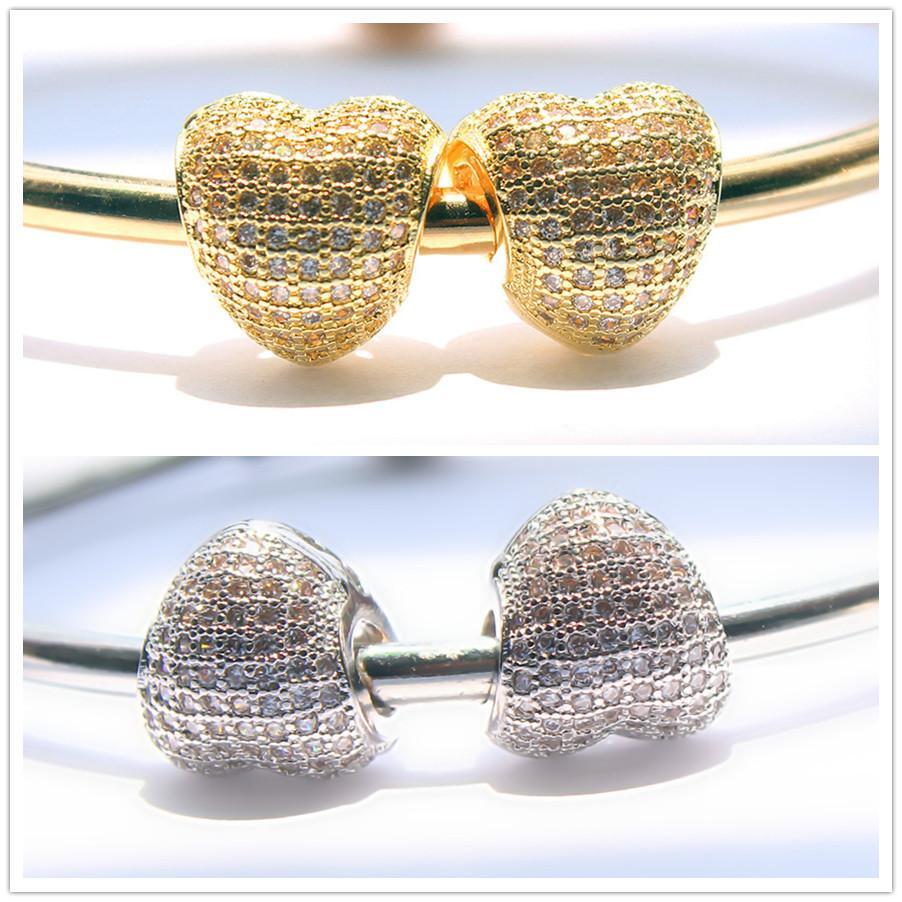 Promozione Catena placcata a vite in argento placcato rame a vite collane di perle Eurpean Charms 17-21CM Lunghezza collana