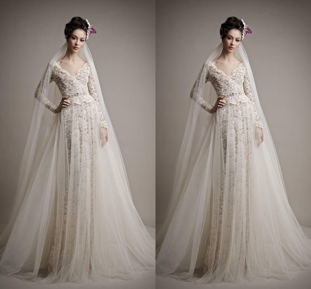 Zuhair Murad 2015 Wedding Dresses Vintage V-Neck Ivory Long Sleeves Tulle A-Line Church Bridal Gown Dress