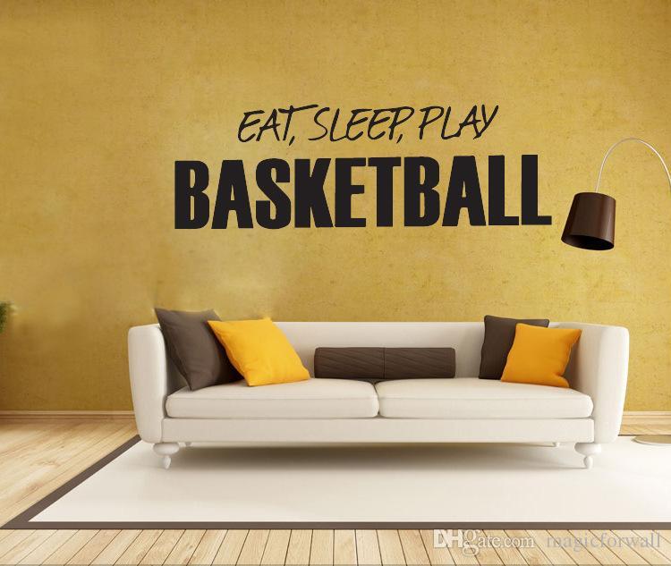 Eat Sleep Play Basketball Wall Art Mural Decor Boys Room Wallpaper Decoration Graphic Home Art Decal Sticker
