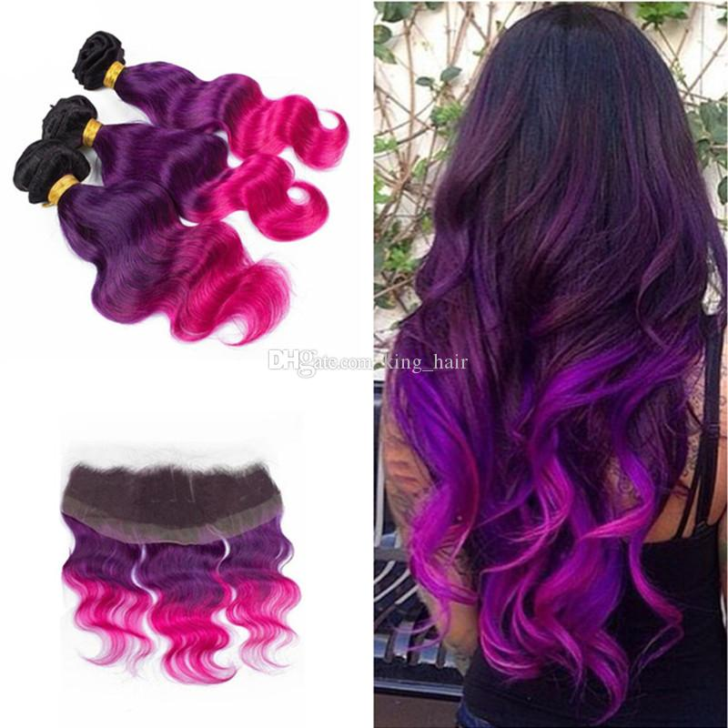 Ombre Color 1b Purple Pink Human Hair 3bundles With 13x4 Lace