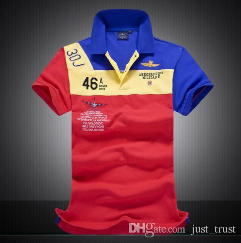 2016 New men Air force Army Embroidery Polos Shirts patchwork Golf men Tees Polos Horse Polo T shirts for man