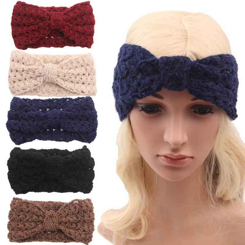 New Women\'S Fashion Wool Buttons Crochet Headband Knit Hair Band Bow ...