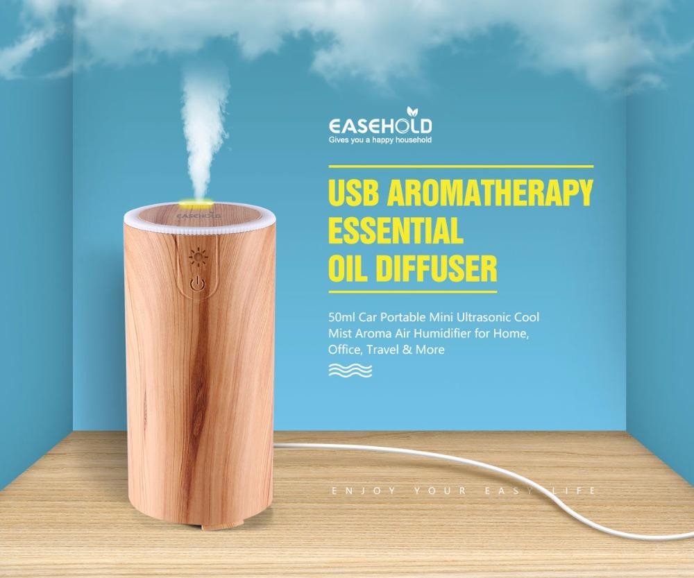 USB Aromatherapy Essential Oil Diffuser - 50ml Car Portable Mini Ultrasonic Cool Mist Aroma Air Humidifier for Home