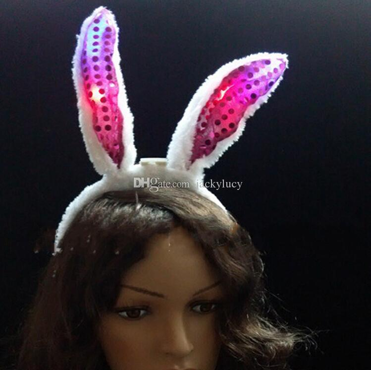 Flash LED Hair Bands Bow Light Up Toys Prom Dress Up Rave Toy Flashing Rabbit Ears Headband For Halloween Xmas Party Supplies