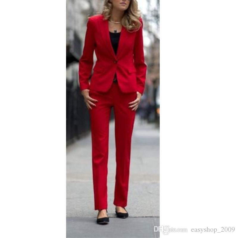 2019 Red Women Ladies Business Office Tuxedos Custom Made Formal