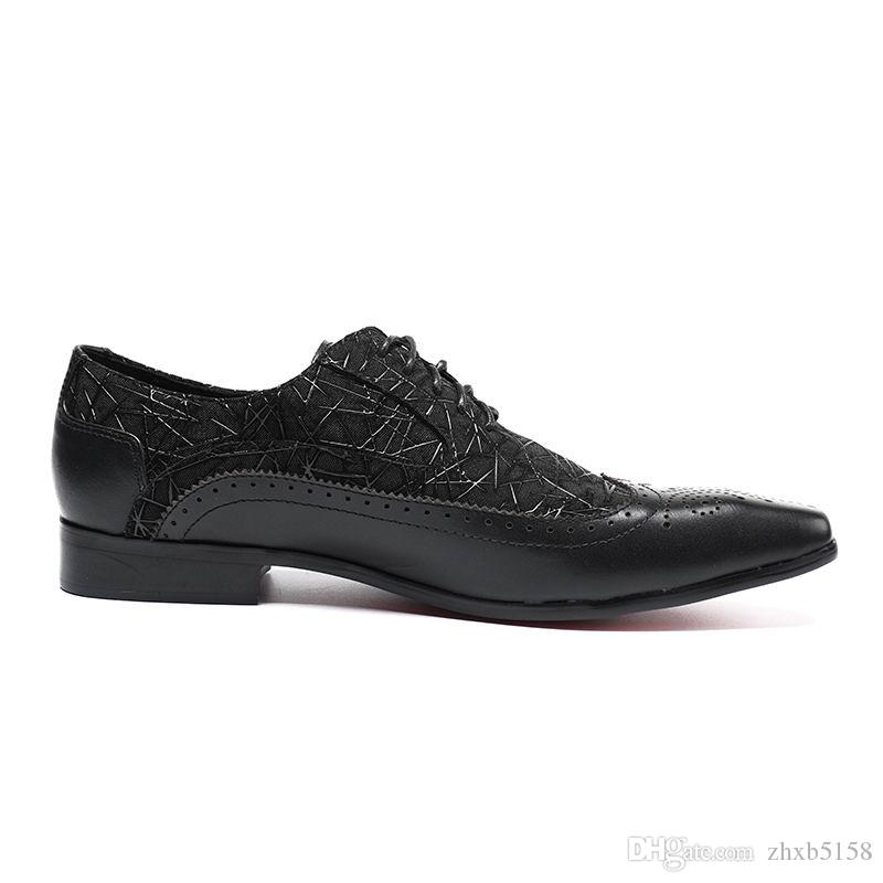 Hot Selling Black Men Dress Shoes Fashion Square Toe Lace Up Show Shoes Man Brogue Carved Party Leather Shoes Size 38-46 Office Career DWK03