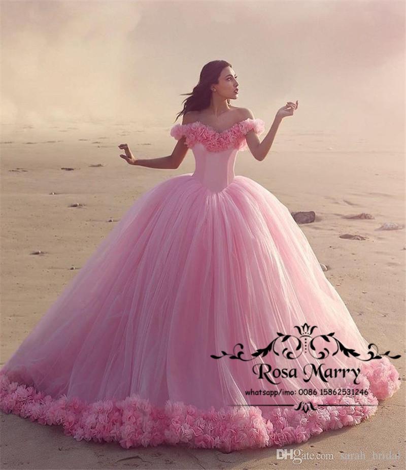 Prenses Pembe 3D Çiçek Balo Gelinlik 2020 Kapalı Omuz Çiçek Artı Boyutu Kabarık Tül Country Beach Dubai Gelin Quinceanera Kıyafeti