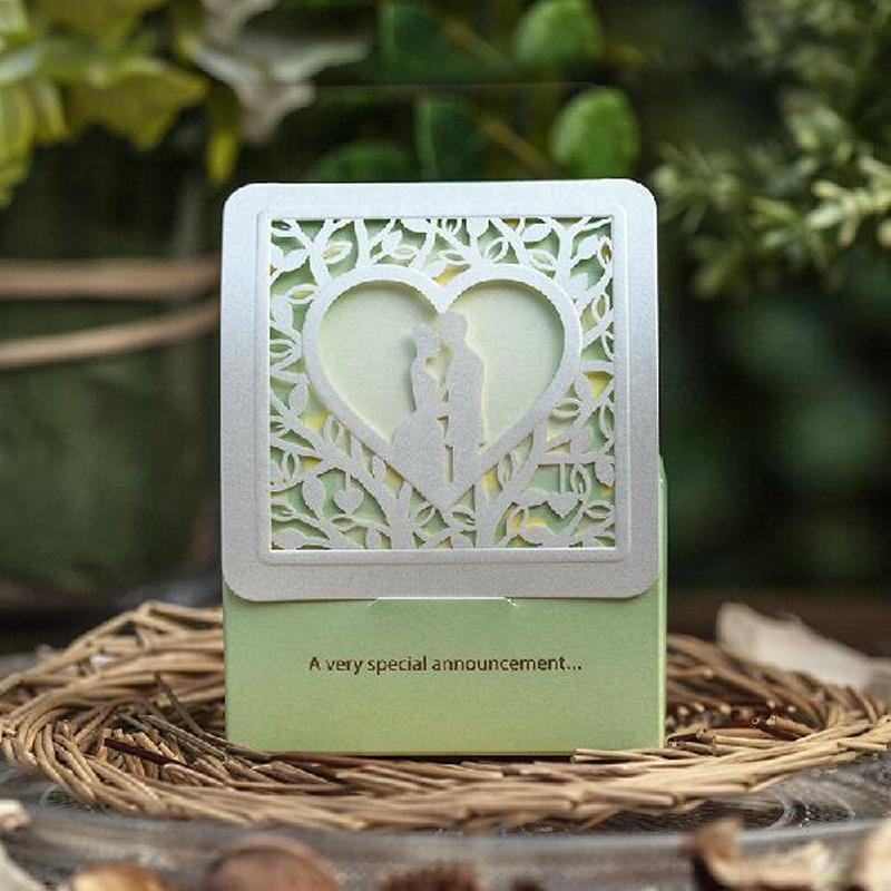 Elegant Light Green Laser Cut Paper Candy Box Tree Theme