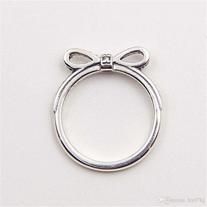 Haute qualité 100% 925 Sterling Silver Sparkling Bow Ring avec Clear CZ European Style Bijoux Charme