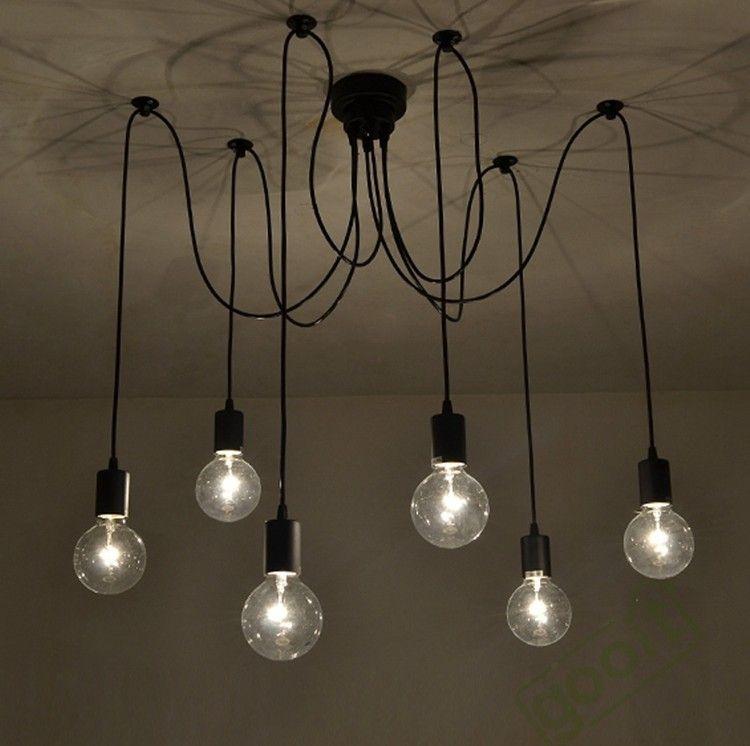 6 arm edison bulb pendant chandelier modern antique adjustable diy e27 art spider ceiling lamp fixture light chandelier shade glass chandelier shades from
