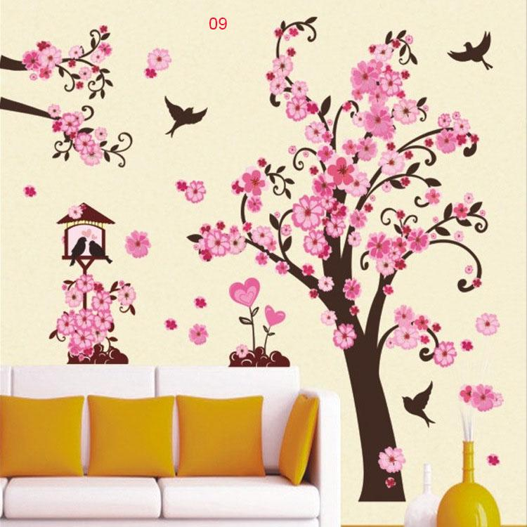 Tree Branches And Buttfly Birds Wall Art Mural Decal Sticker Decor Colorful  Flowers Tree Wall Border Decoration Sticker Home Art Decor Wall Stickers  Wall ... Part 43