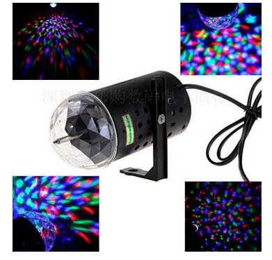 3W RGB Full Color Auto Rotating Lamp Voice-activated Crystal Magic Ball Laser Stage Light for Party Disco DJ Bar Bulb KTV Lighting Show