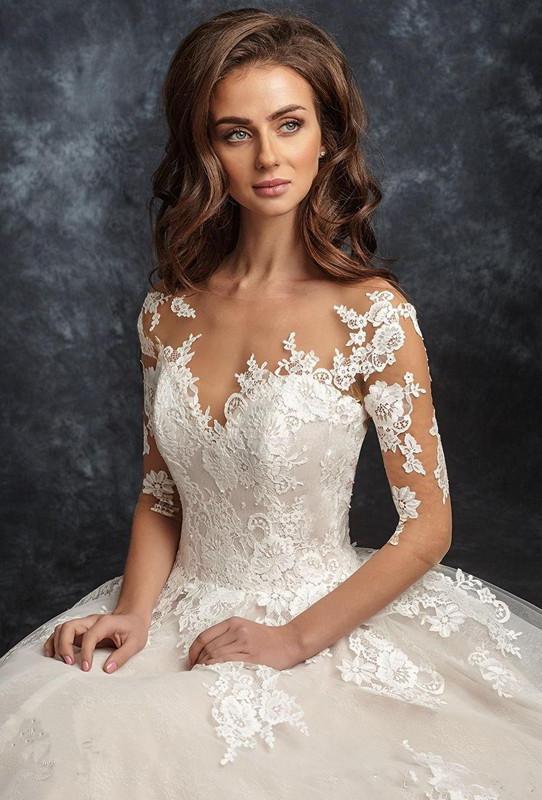 corpetto pesantemente impreziosito linea romantica abiti da sposa 2018 New ira koval nuziale maniche a tre quarti scollo a cuore aperto indietro 105