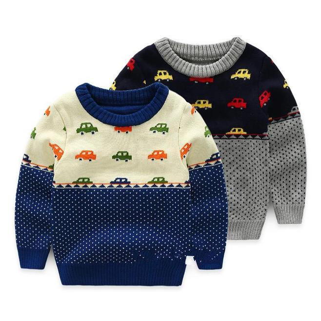 Winter Knitted Boys Sweater Car Cartoon Jacket Warm Thick Sweater